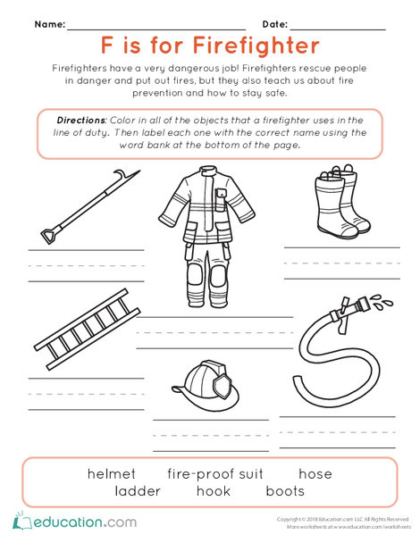 Kindergarten Reading & Writing Worksheets: F is for Firefighter