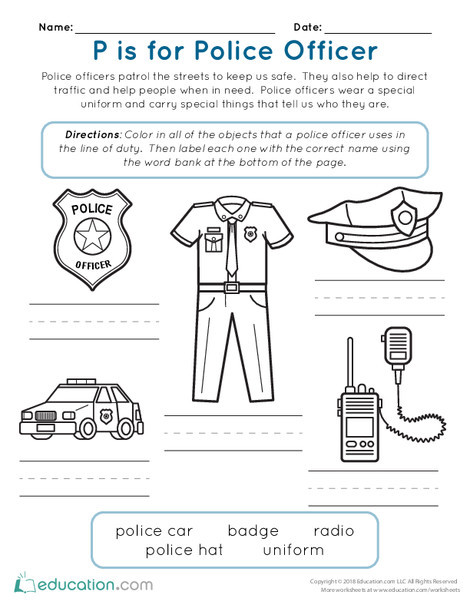 Kindergarten Reading & Writing Worksheets: P is for Police Officer