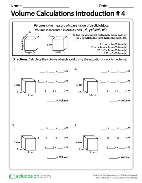 Fifth Grade Math Worksheets: Volume Calculations Introduction #4