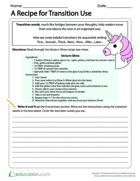 Fourth Grade Reading & Writing Worksheets: A Recipe for Transition Use
