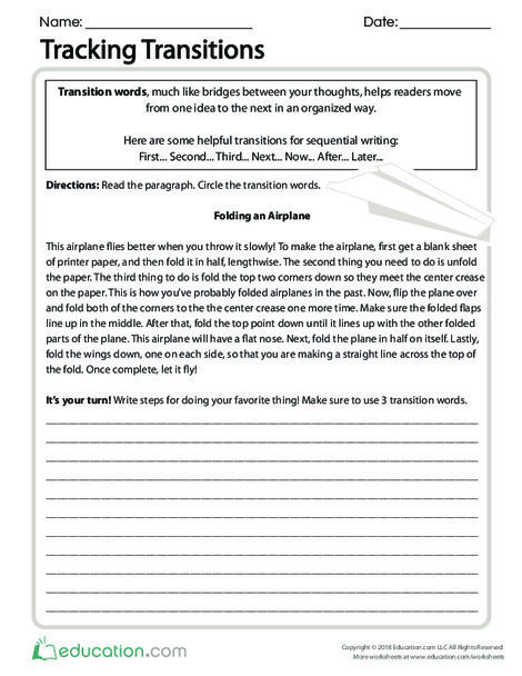 Fourth Grade Reading & Writing Worksheets: Tracking Transitions