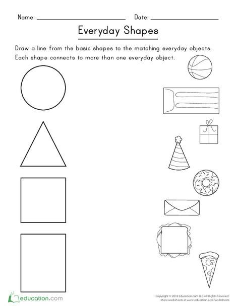 Kindergarten Math Worksheets: Everyday Shapes