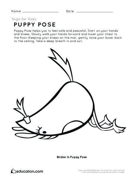 Preschool Coloring Worksheets: Yoga for Kids: Puppy Pose
