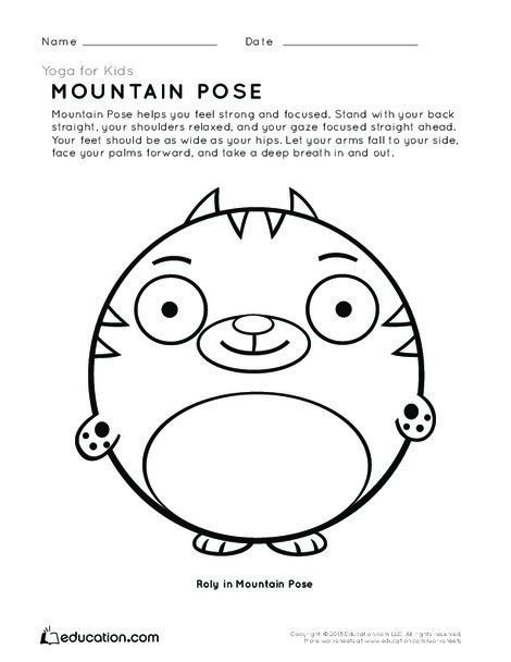 Preschool Coloring Worksheets: Yoga for Kids: Mountain Pose