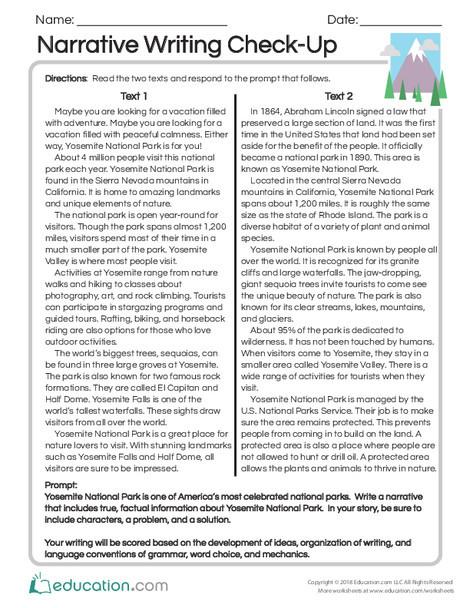 Third Grade Reading & Writing Worksheets: Narrative Writing Check-Up