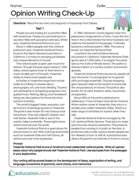 Third Grade Reading & Writing Worksheets: Opinion Writing Check-Up