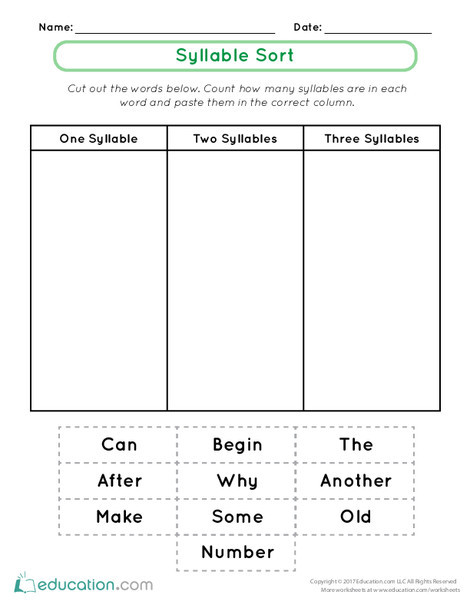 First Grade Reading & Writing Worksheets: Syllable Sort