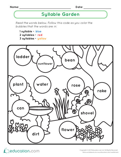 First Grade Reading & Writing Worksheets: Syllable Garden