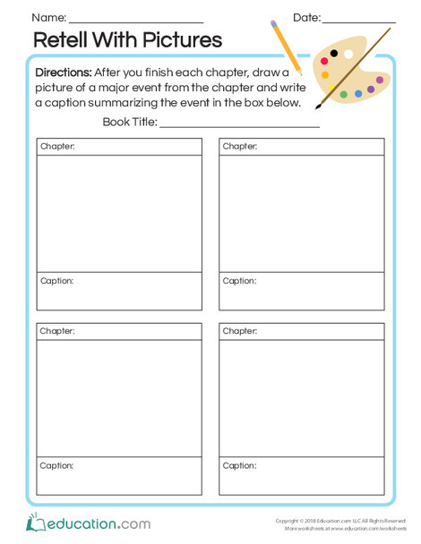 Second Grade Reading & Writing Worksheets: Retell with Pictures