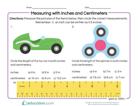 Second Grade Math Worksheets: Measuring with Inches and Centimeters