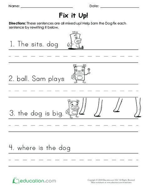 Kindergarten Reading & Writing Worksheets: Fix it Up
