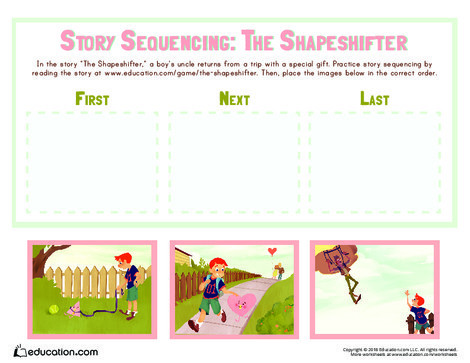 Preschool Reading & Writing Worksheets: The Shapeshifter: Story Sequencing