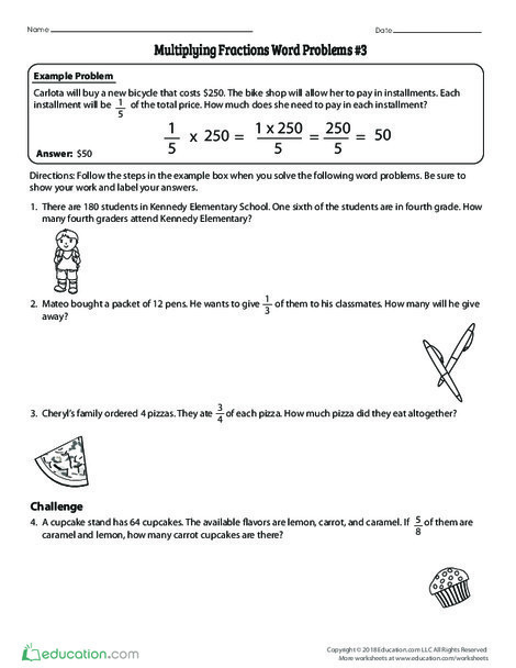 Fourth Grade Math Worksheets: Multiplying Fractions Word Problems #3