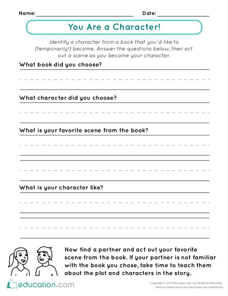 First Grade Reading & Writing Worksheets: You Are a Character!