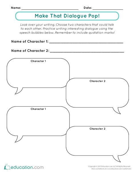 First Grade Reading & Writing Worksheets: Make That Dialogue Pop!