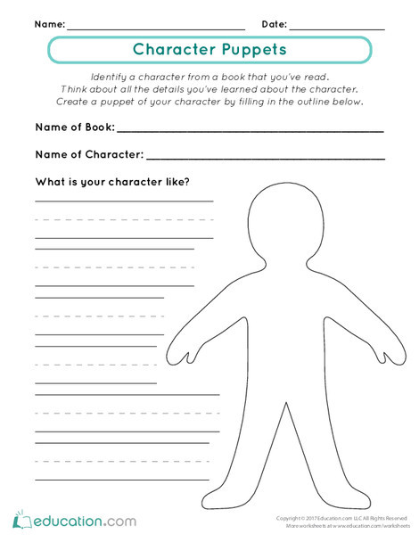 First Grade Reading & Writing Worksheets: Character Puppets
