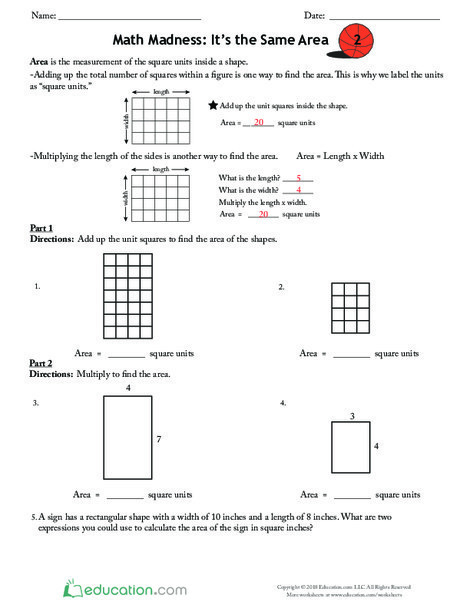 Third Grade Math Worksheets: Math Madness: It's the Same Area 2
