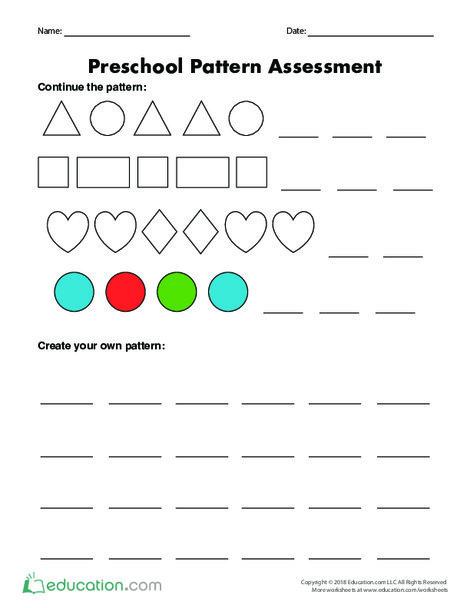 Preschool Math Worksheets: Preschool Pattern Assessment