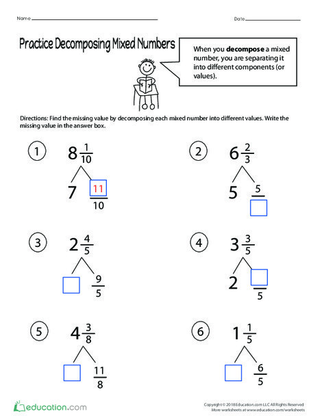 Fourth Grade Math Worksheets: Practice Decomposing Mixed Numbers