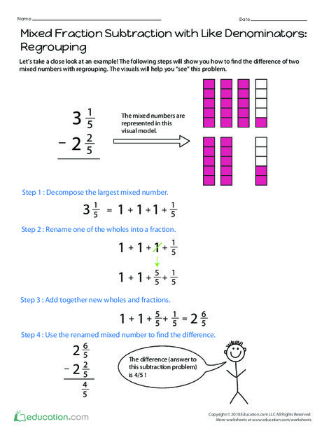 Fourth Grade Math Worksheets: Mixed Fraction Subtraction with Like Denominators: Regrouping