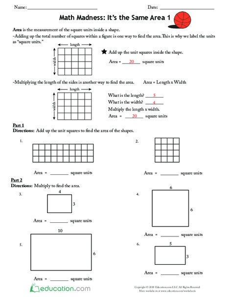 Third Grade Math Worksheets: Math Madness: It's the Same Area 1