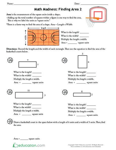 Third Grade Math Worksheets: Math Madness: Finding Area 2