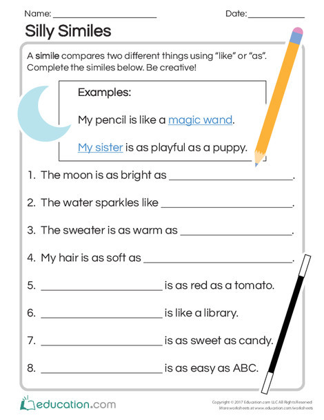 Second Grade Reading & Writing Worksheets: Silly Similes