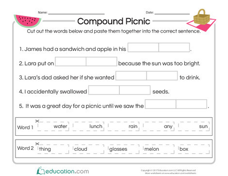 Second Grade Reading & Writing Worksheets: Compound Picnic