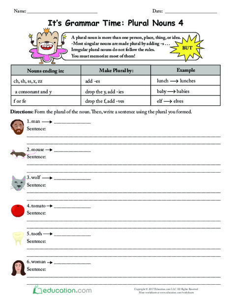 Second Grade Reading & Writing Worksheets: It's Grammar Time: Plural Nouns 4