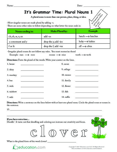 Second Grade Reading & Writing Worksheets: It's Grammar Time: Plural Nouns 1
