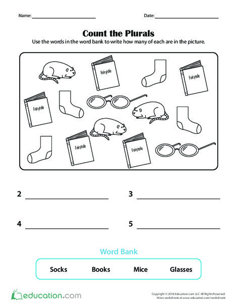 Preschool Reading & Writing Worksheets: Count the Plurals