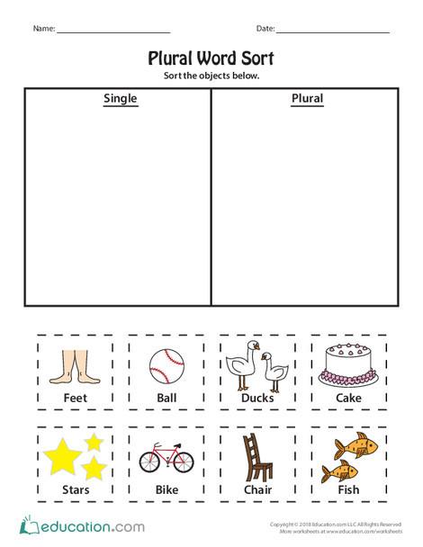 Preschool Reading & Writing Worksheets: Plural Word Sort