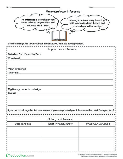 Fourth Grade Reading & Writing Worksheets: Organize Your Inference