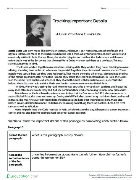 Fourth Grade Reading & Writing Worksheets: Tracking Important Details: A Look into Marie Curie's Life