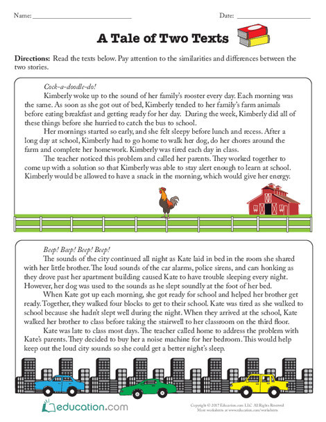 Third Grade Reading & Writing Worksheets: A Tale of Two Texts