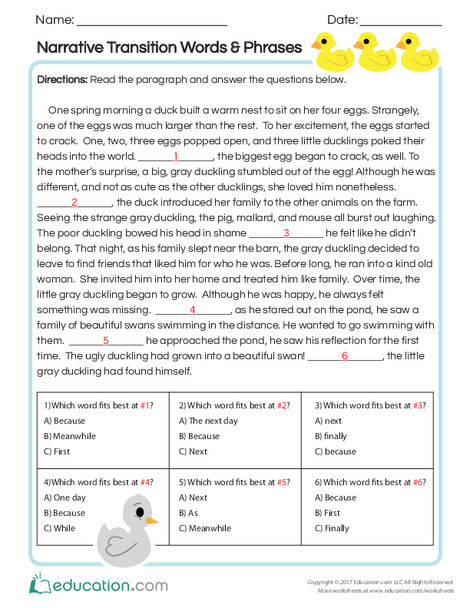 Second Grade Reading & Writing Worksheets: Narrative Transition Words & Phrases