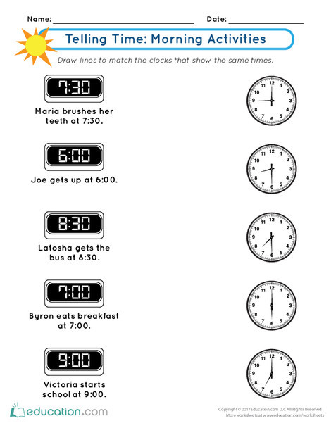 First Grade Math Worksheets: Telling Time: Morning Activities