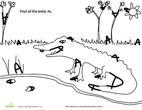"""Kindergarten Reading & Writing Worksheets: Find the Letters: """"A"""""""