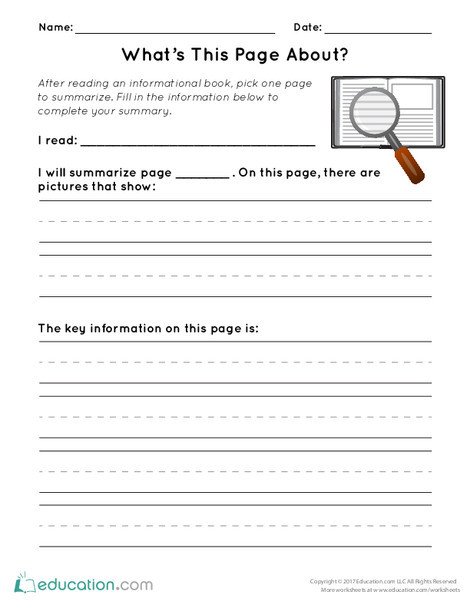 First Grade Reading & Writing Worksheets: What's This Page About?