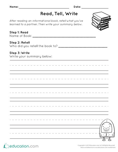 First Grade Reading & Writing Worksheets: Read, Tell, Write