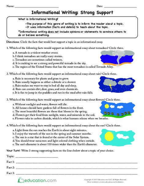 Third Grade Reading & Writing Worksheets: Informational Writing: Strong Support