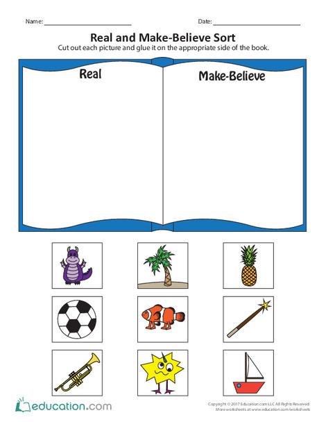 Preschool Reading & Writing Worksheets: Real and Make-Believe Sort