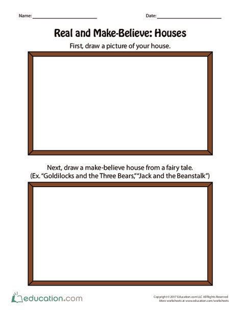 Preschool Reading & Writing Worksheets: Real and Make-Believe: Houses