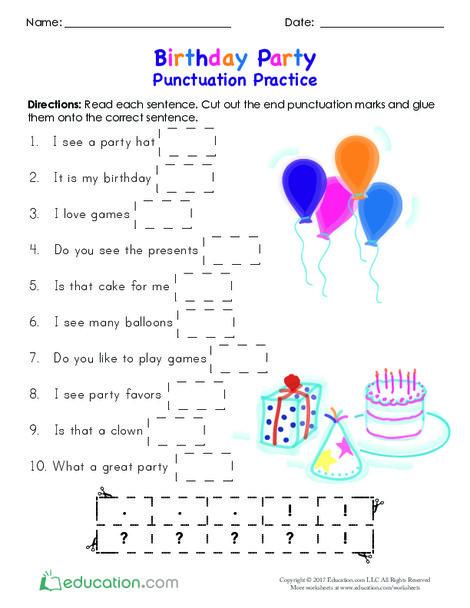 Kindergarten Reading & Writing Worksheets: Birthday Party Punctuation Practice