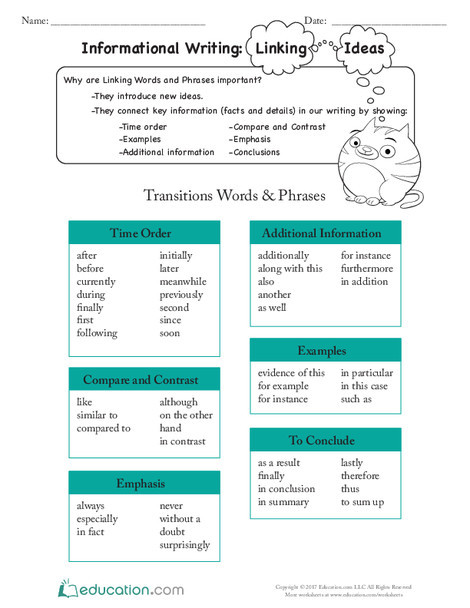 Third Grade Reading & Writing Worksheets: Informational Writing: Linking Ideas