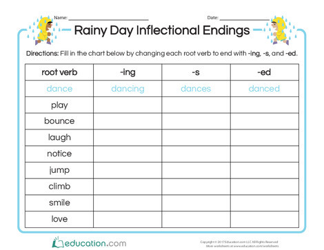 Second Grade Reading & Writing Worksheets: Rainy Day Inflectional Endings