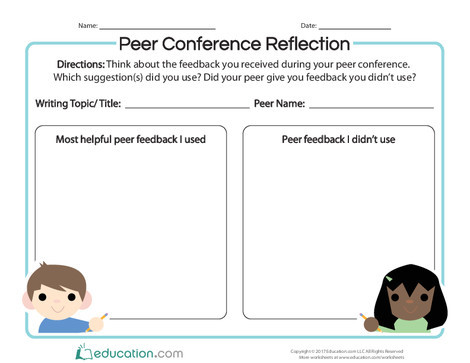 Second Grade Reading & Writing Worksheets: Peer Conference Reflection