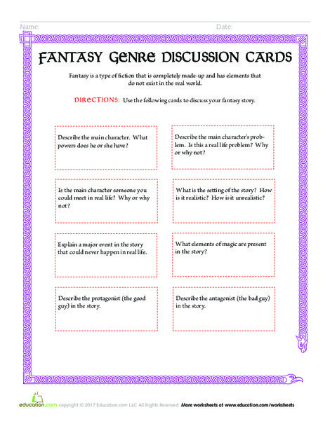 Fourth Grade Reading & Writing Worksheets: Fantasy Genre Discussion Cards