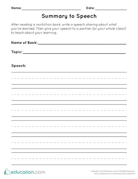 First Grade Reading & Writing Worksheets: Summary to Speech