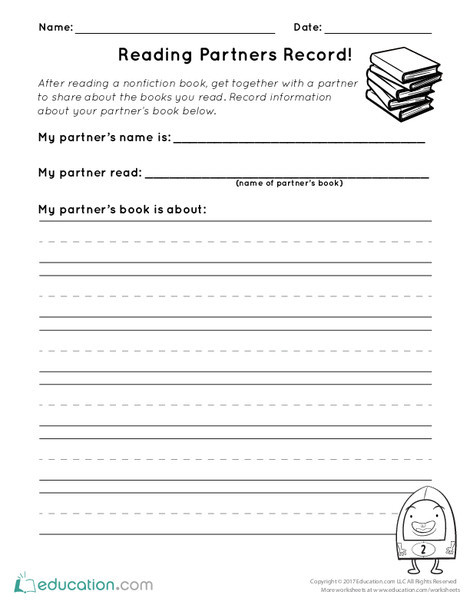 First Grade Reading & Writing Worksheets: Reading Partners Record!